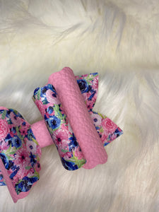 Pink and Blue Floral Hair Bow
