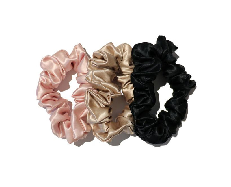 Slip Silk Scrunchies (Pack of 3 Large) - Pink, Caramel, Black