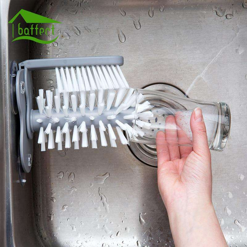 Time Saving Double Brush Scrubber with Suction Cup Base