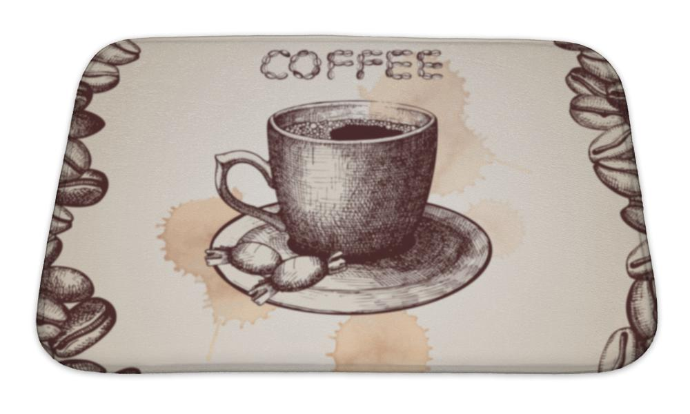 Kitchen Mat, Hand Drawn Coffee Cup Illustration With Coffee Beans Frame