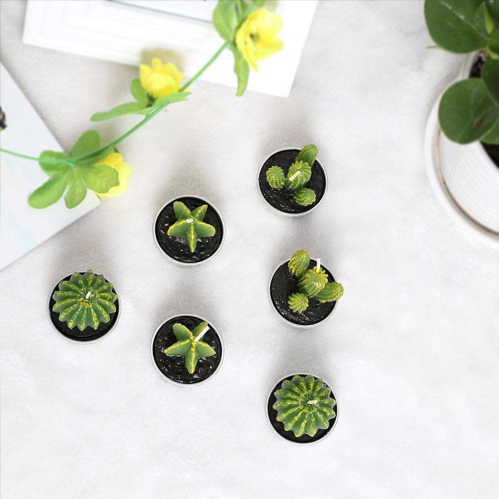 Mini Cactus Tea Light Candle (6pc set)