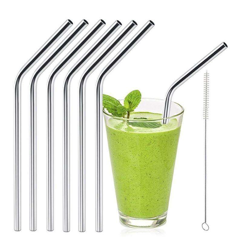 6pc Stainless Steel Reusable Drinking Straws with Brush Cleaner