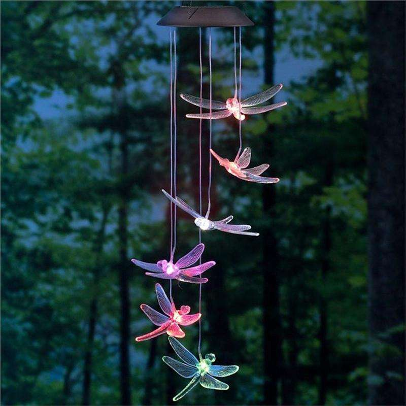 Solar Power LED Light Dragon fly Wind Chimes