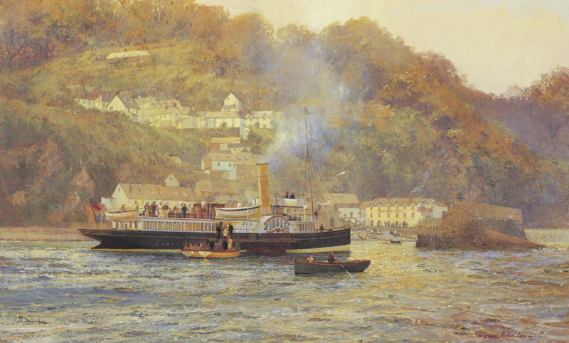 Paddle steamer Lorna Doone off Clovelly. 'Gleaming Brass and Drifting Steam.'