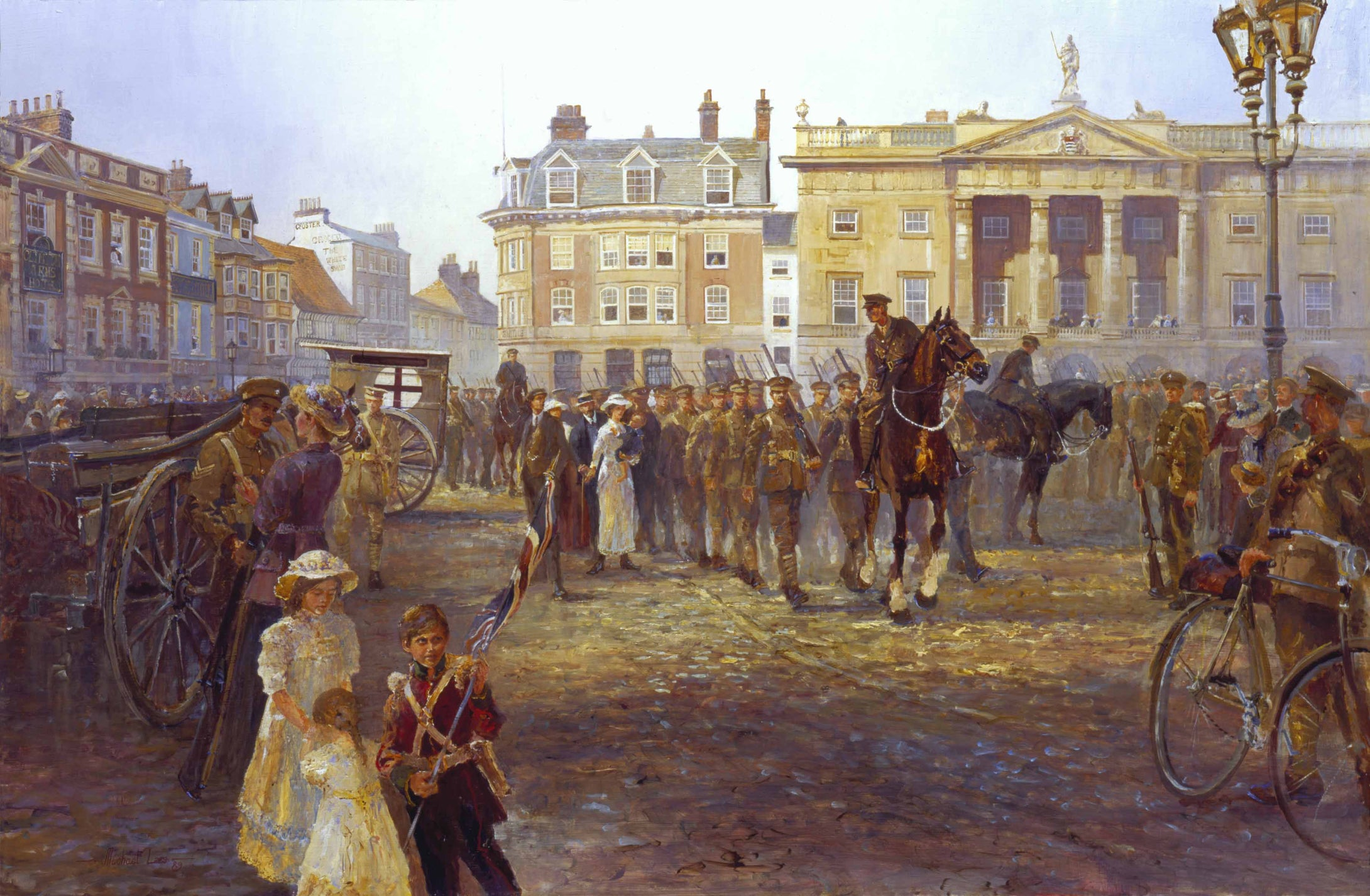 The Worcestershire and Sherwood Forester mustering in Newark Square. 'Territorials to war.'