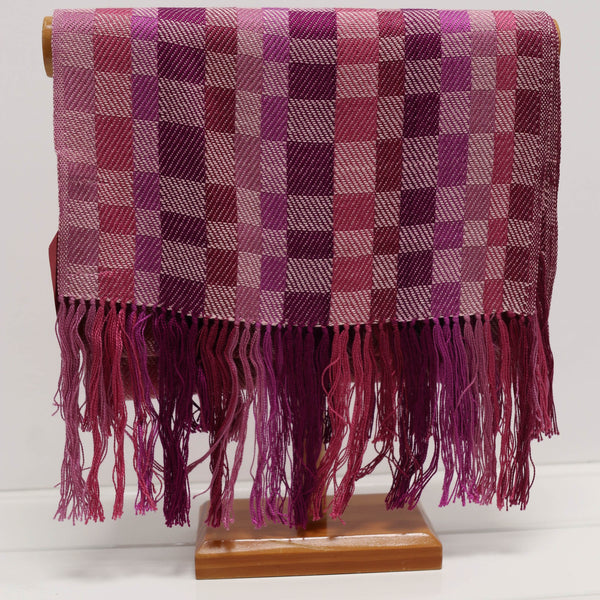 Pink and Purple Squares Silk Scarf