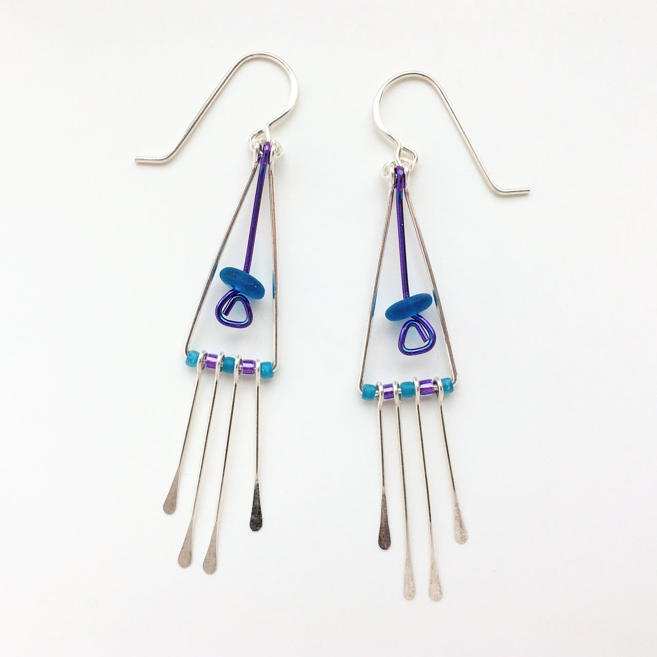 Long Triangle Earrings w bead & fringe