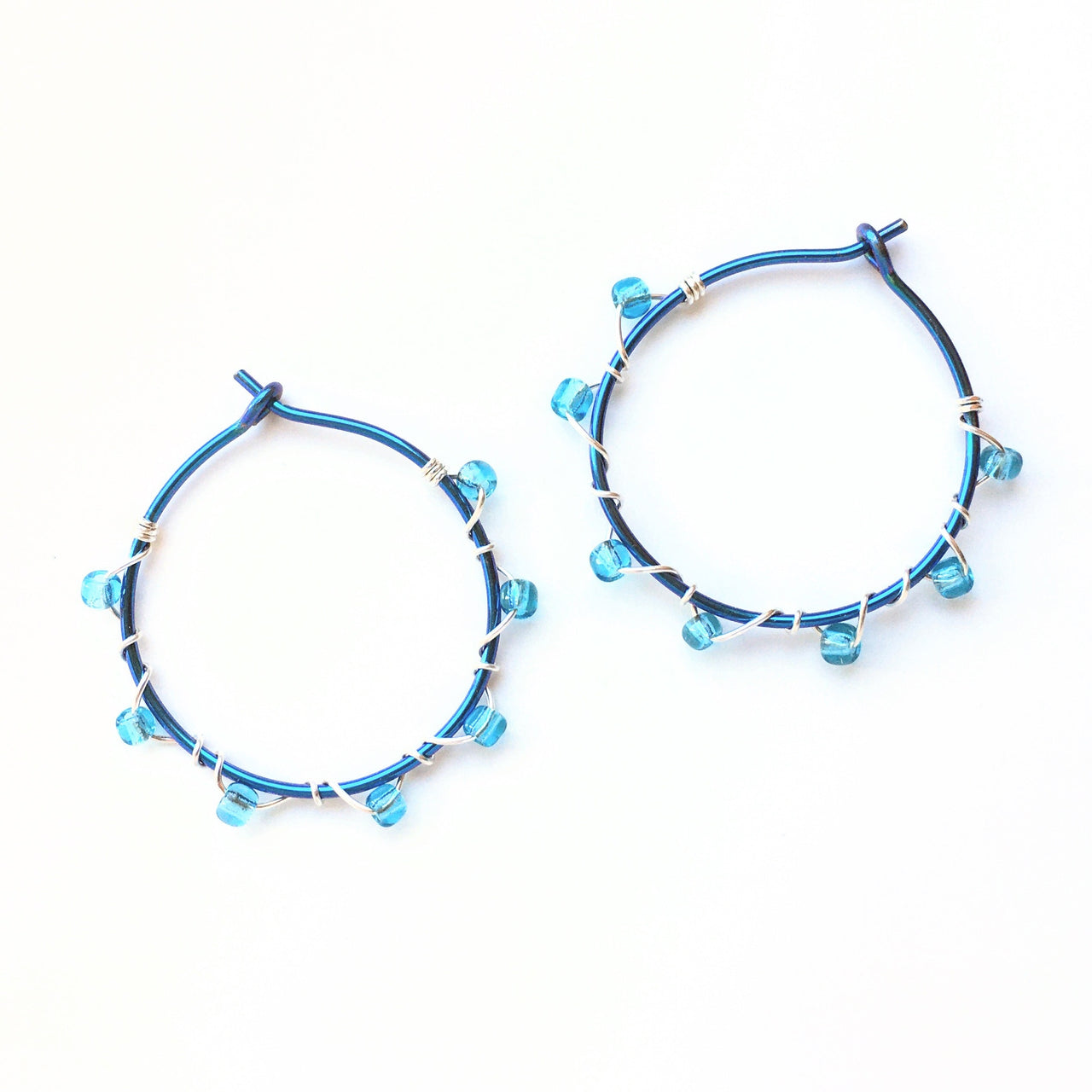 Seed Bead Wrapped Hoops
