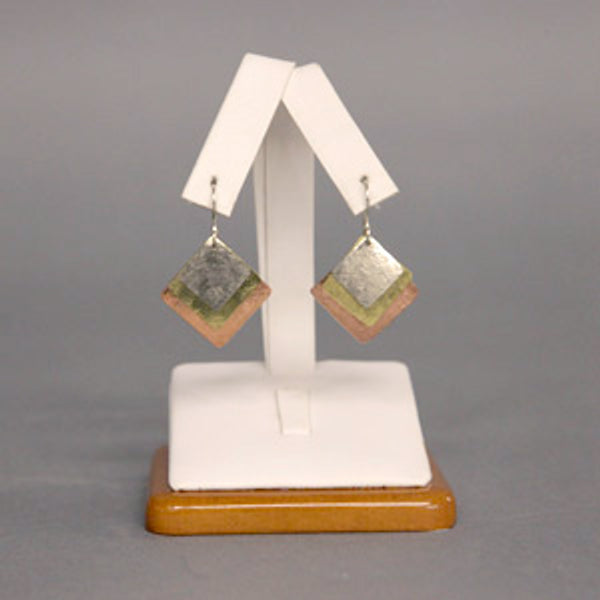 Earrings, Tri Metal Diamond