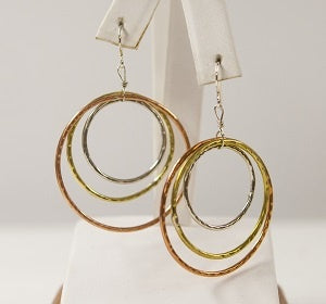 Tri Metal Hoop Earrings