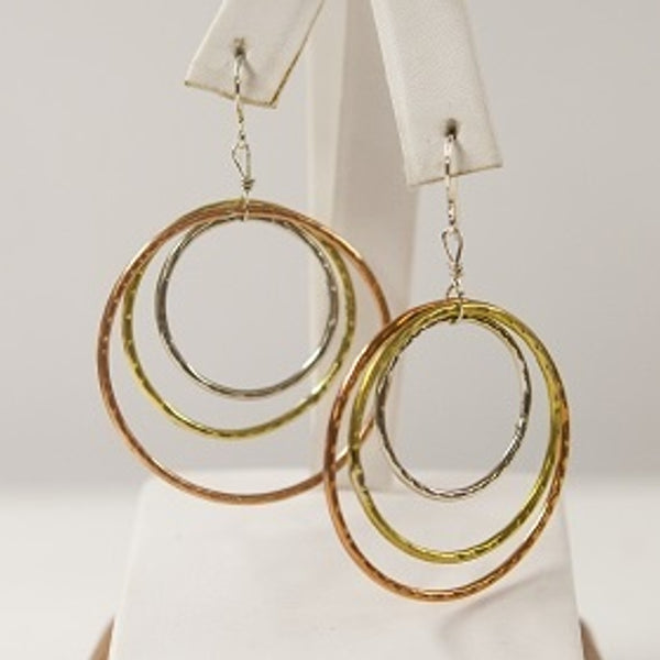 Earrings, Tri Metal Hoops