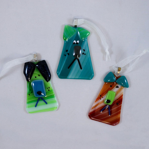 Fused Glass Dog Ornament