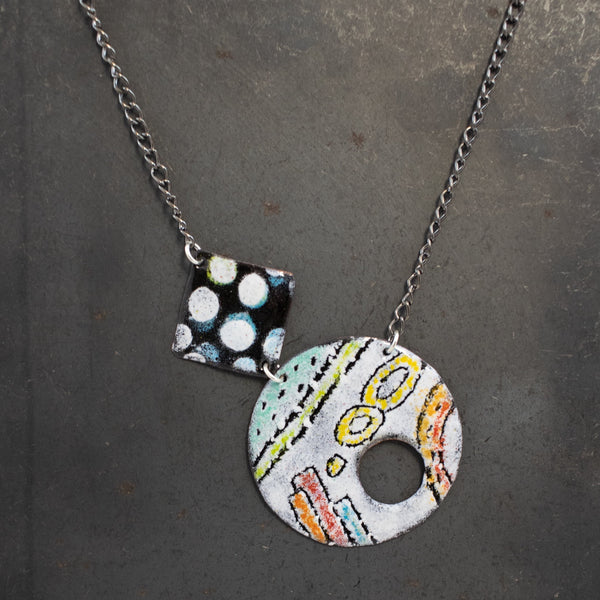 Necklace, Sgraffito Geometric