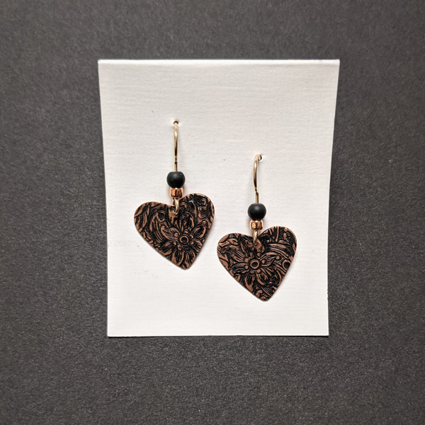 Earrings, Painted Heart