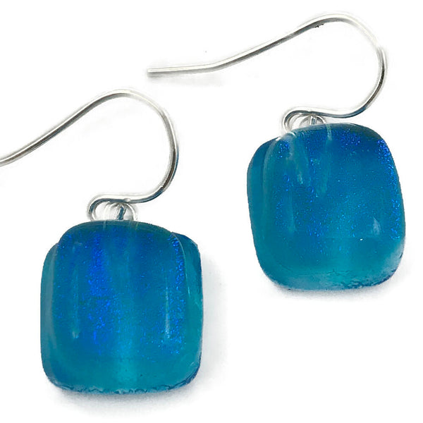 Dichroic Glass Earrings - Square