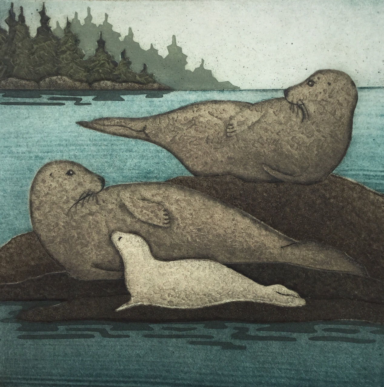 Three Seals, Framed