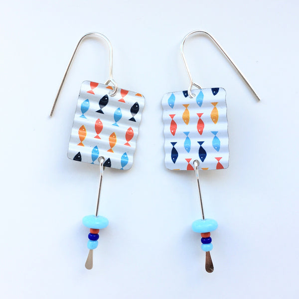 Recycled Tin Earrings w Bead Drop