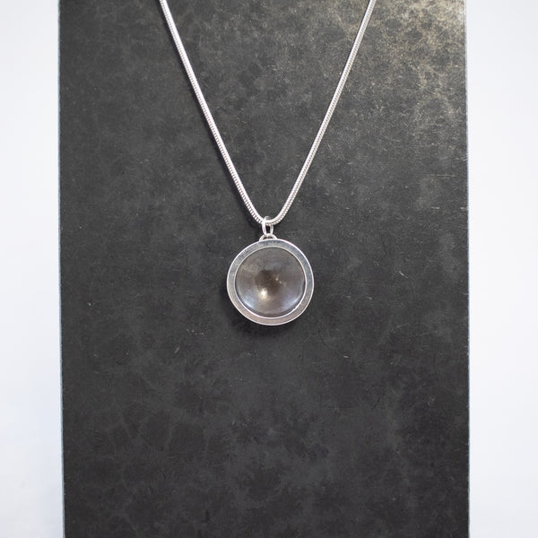 Necklace, Large Oxidized Circle Disc
