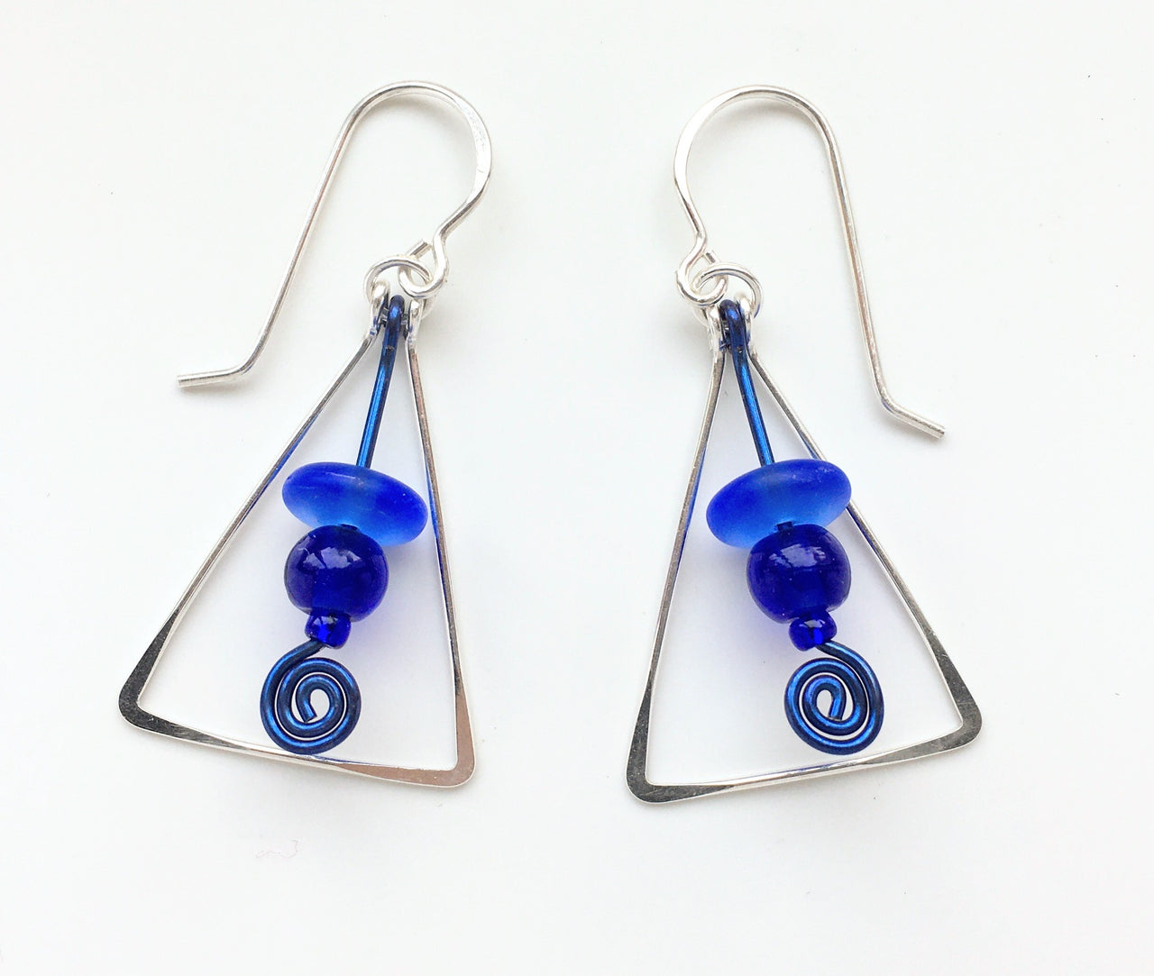 Triangle Earrings w Beaded Spiral