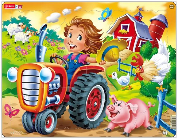 Farm Kid with Tractor 15 Piece Puzzle