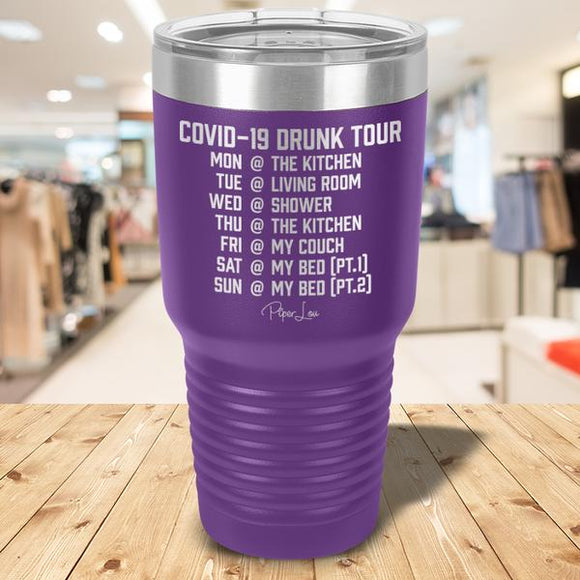 COVID-19 Drinking Tour Laser Etched Tumbler Purple