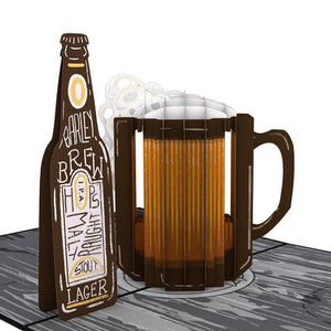 Beer Lovepop Pop-up Greeting Card - stamps included