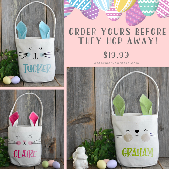 Linen Bunny Easter Baskets Personalized with Your Child's Name