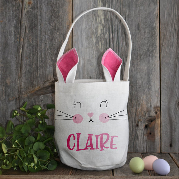 PRE-ORDER Linen Bunny Easter Baskets Personalized with Your Child's Name