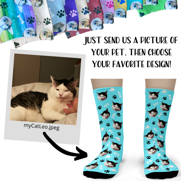 Cat Socks personalized with your cat's face - Adult Crew Unisex