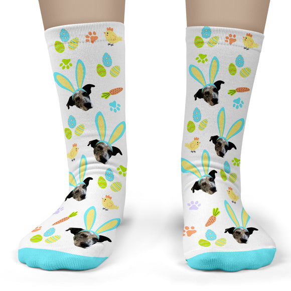 Easter Pet Socks Personalized with Your Pet's Face - Adult Crew Unisex