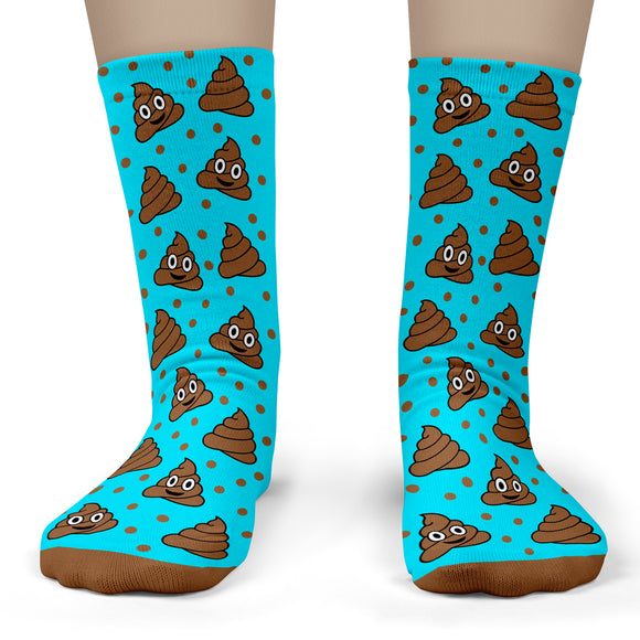 Poop Emoji Socks - Child Crew Size 11-4