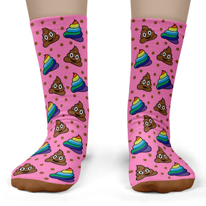 Rainbow Poop Emoji Socks - Child Crew Size 11-4