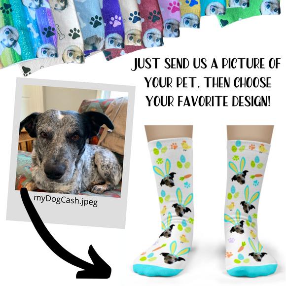 Dog Socks personalized with your dog's face - Adult Crew Unisex