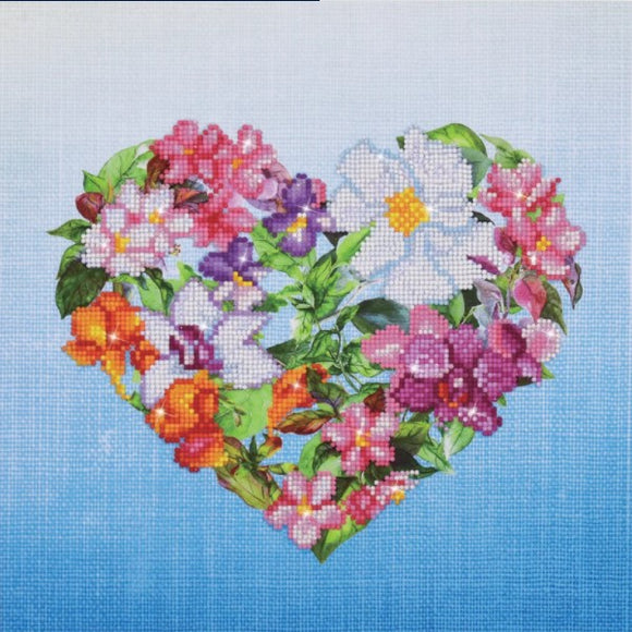 Diamond Painting Kit - 14x14 Flower Heart