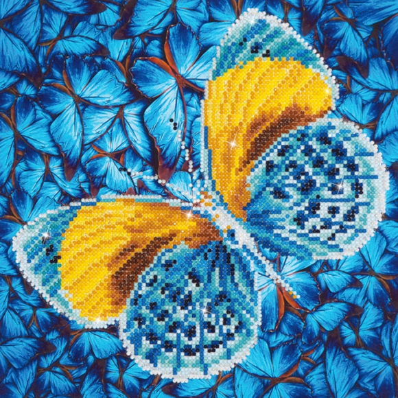 Diamond Painting Kit - 12x12 Butterfly Gold & Blue