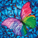 Diamond Painting Kit - 12x12 Butterfly Silver