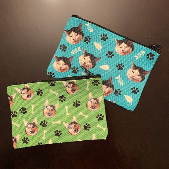 Cat Small Zipper Pouch (perfect for a mask!) personalized with your cat's face!