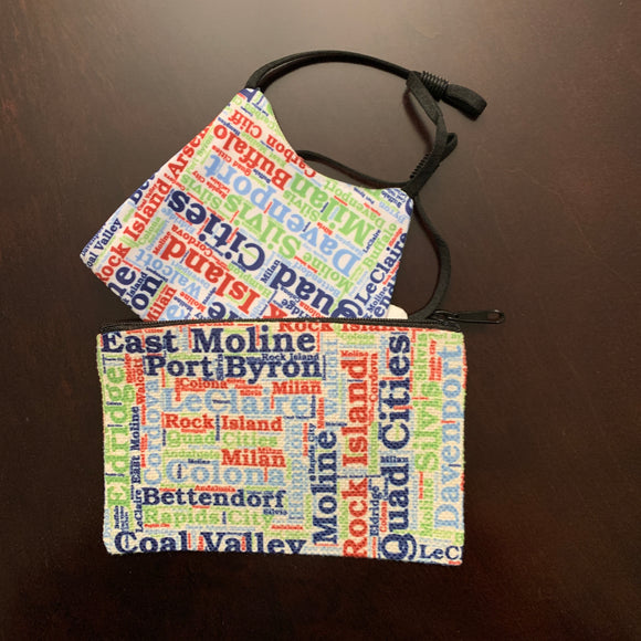 Quad Cities Face Mask & Zipper Pouch Gift Set