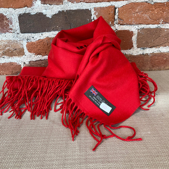 Solid Cashmere Scarf - Red - Made in Scotland
