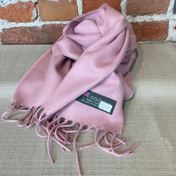 Solid Color Cashmere Scarf - Dusty Rose - Made in Scotland
