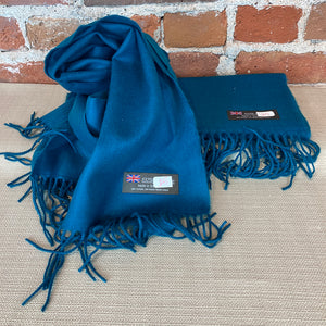 Solid Color Cashmere Scarf - Blue - Made in Scotland