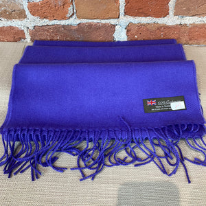 Solid Color Cashmere Scarf - Royal Purple - Made in Scotland