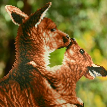 Diamond Painting Kit - 16x20 Kissing Kangaroos