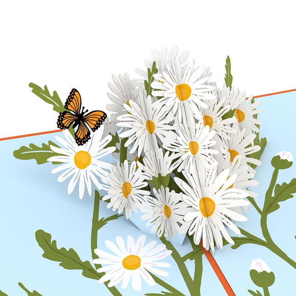 Daisies with Monarch Butterfly Lovepop Pop-up Greeting Card - stamps included