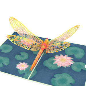 Dragonfly on Water Lily Lovepop Pop-up Greeting Card - stamps included
