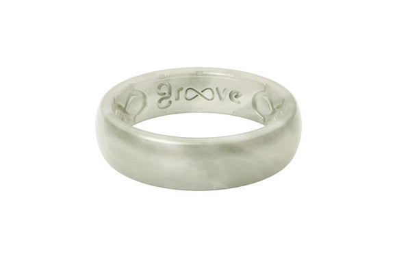 Groove Ring Womens - Pearl Metallic Thin