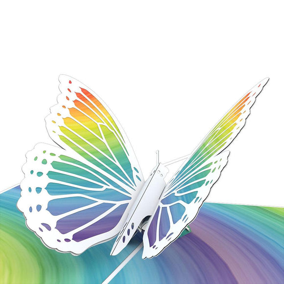 Rainbow Butterfly Lovepop Pop-up Greeting Card - stamps included