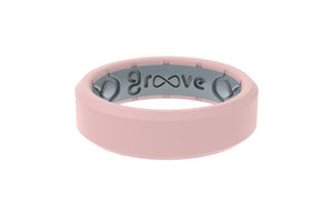 Groove Ring Womens - Thin Rose Quartz