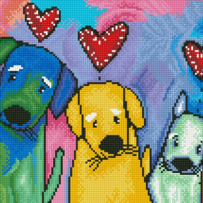 Diamond Paint Kit - 12x16 Three Amigos Puppy Dogs