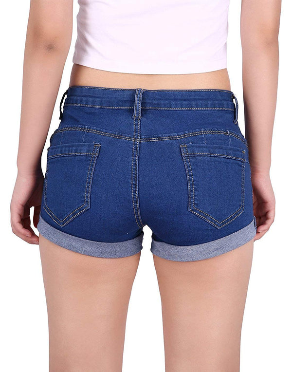 HDE Junior's Womens Mid Rise Stretchy Denim Jean Shorts